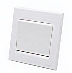 施耐德电气 一位单开单联单控 墙壁电源插座开关面板 10A 如意 白
