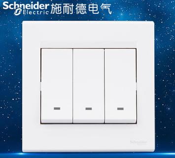施耐德电气 三位三开三联单控 墙壁电源插座开关面板 10A 如意 白