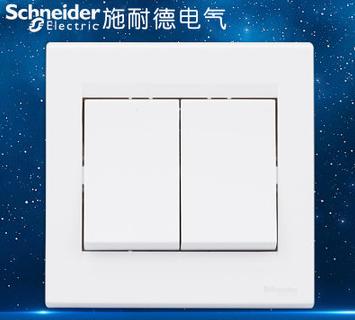 施耐德电气 两位二开双联单控 墙壁电源插座开关面板 10A 如意 白