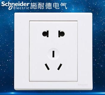 施耐德电气 二三插五孔插座 墙壁电源 开关插座面板 10A 如意 白