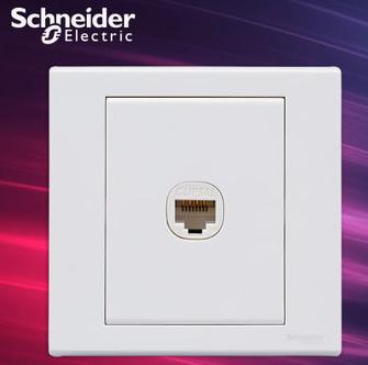 施耐德电气开关插座 单联电脑插座 网络网线墙壁弱电面板 如意 白