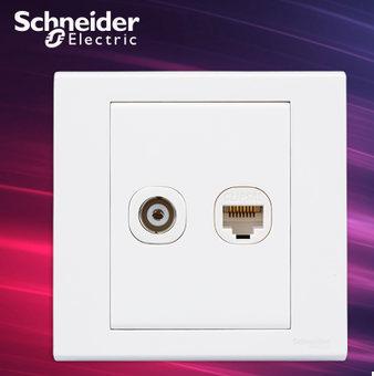 施耐德电气开关插座 电视+电脑插座 网络网线 墙壁面板 如意 白色