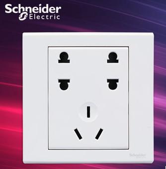 施耐德电气 双联二极+三极 七孔插座 开关插座面板 10A 如意 白色