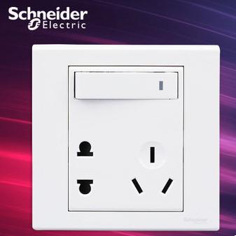 施耐德电气 带开关一开五孔插座 二三插墙壁电源面板 10A 如意 白