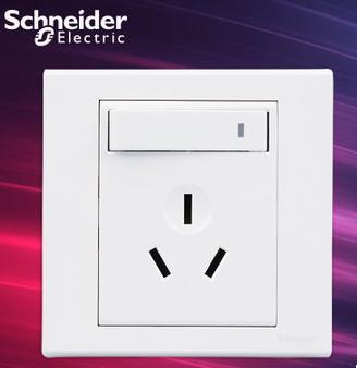 施耐德电气 带开关一开三孔 空调墙壁电源插座面板 16A 如意 白色