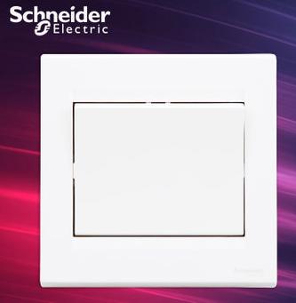 施耐德电气 一位单开单联双控 墙壁电源插座开关面板 10A 如意 白