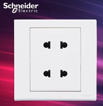 施耐德电气 双联二极四孔插座 墙壁电源开关插座面板 10A 如意 白