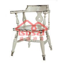 漫咖啡餐厅咖啡店专用椅子做旧复古米白色靠背椅