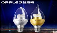 欧普照明 led拉尾灯泡蜡烛泡e14暖白黄节能3w球泡小螺口超亮光源