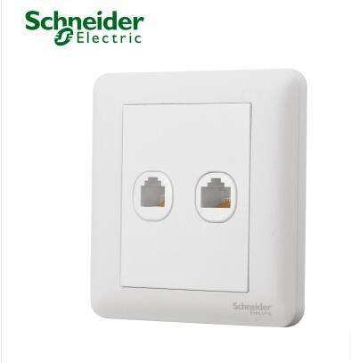 施耐德双联电脑信息插座面板A3B52RJ5E经典白墙壁双网线插座